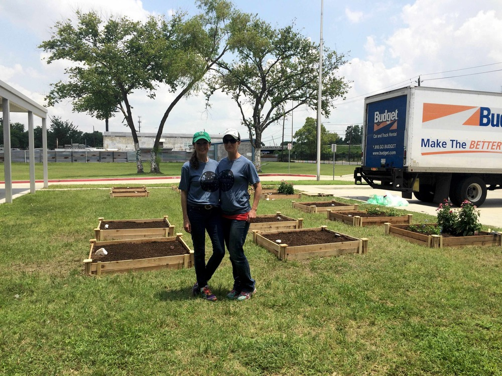 Kari and Della with finished planters.jpg