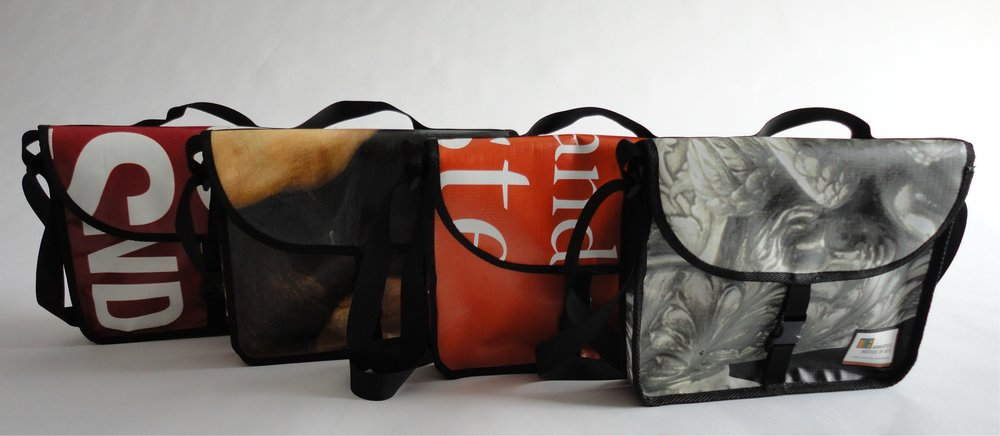 Image: Relan created tablet messenger bags made out of recycled vinyl billboards for the Minneapolis Institute of Art which intrigued Amanda.