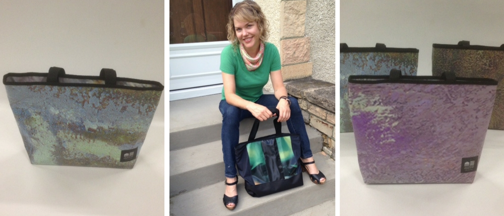 Two side images: Cleveland Museum of Art upcycled billboard bags made by Relan. Center image: Amanda Stolle with her Relan bag.