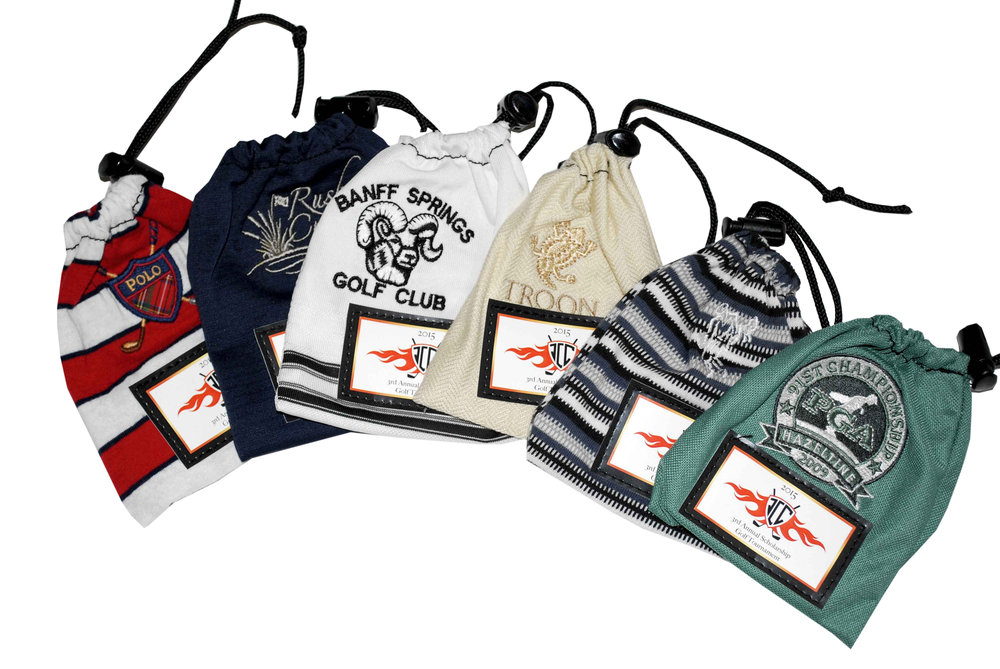 Eco-friendly golf tee bags made from old, branded t-shirts with drawstring top
