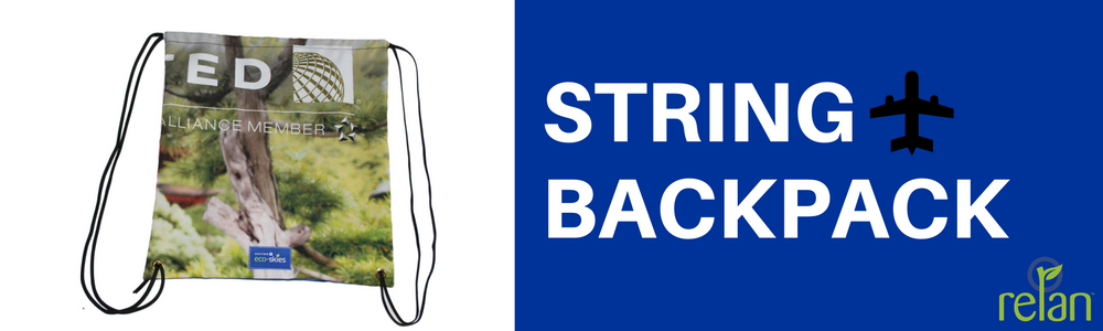 United Airlines Eco-skies string backpack made by Relan