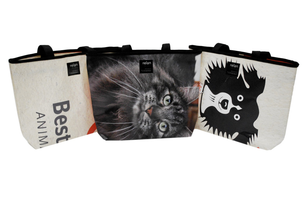 Durable tote bags made from recycled billboards and banners
