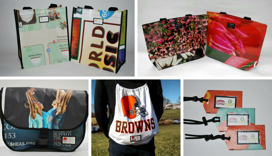 From left to right, clockwise: PickUp Tote, Urban Tote, Luggage Tag,String Backpack,Messenger Bag,