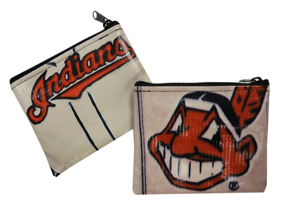 A pouch to hold loose change made from repurposed Cleveland Indians banners and billboards