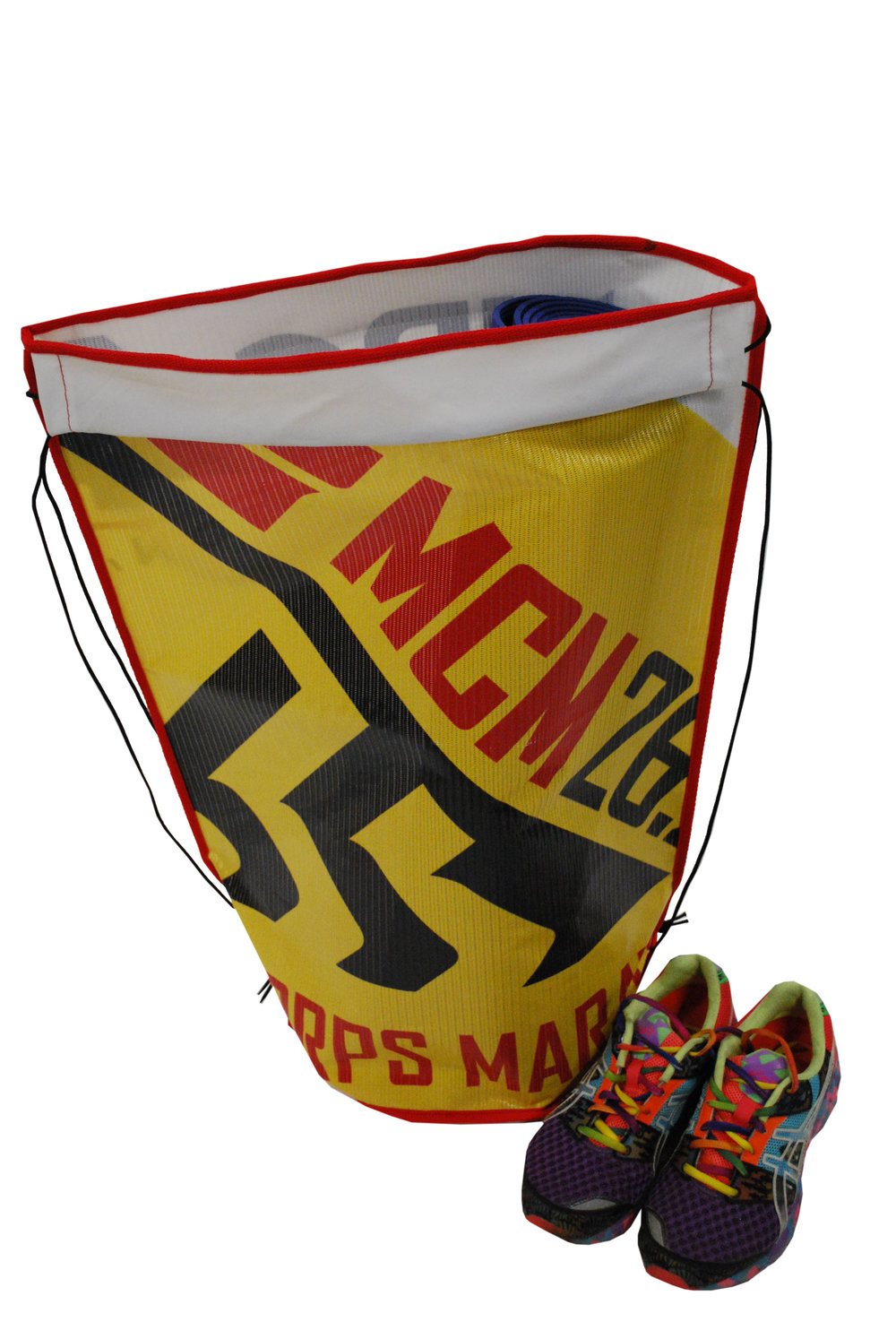 Mesh gear bag made for runners and athletes from old Marine Corps Marathon banners