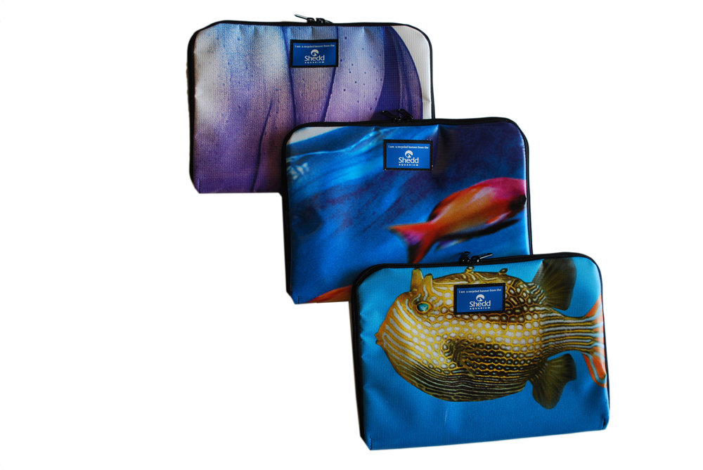 Durable tablet or laptop case made from upcycled vinyl or other repurposed materials