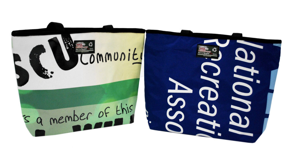 Tote made from recycled billboards and banners