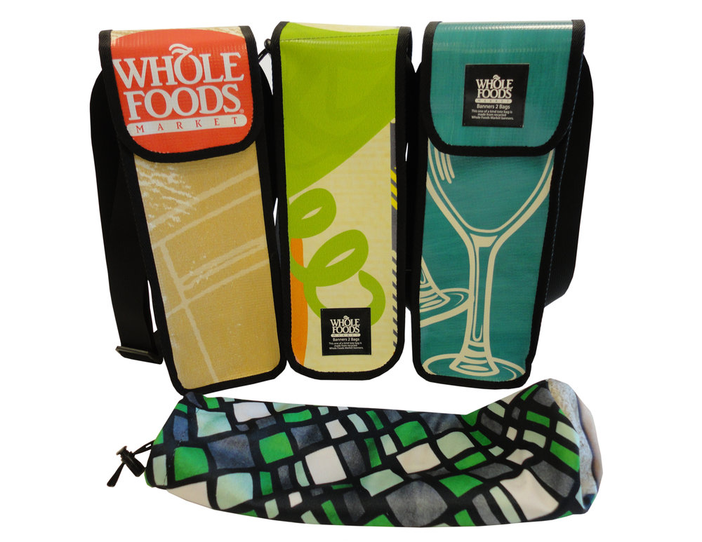 Sealable and sustainable wine tote made from repurposed vinyl banners or billboards