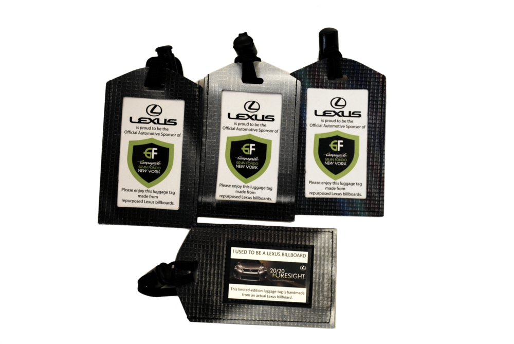 Lexus luggage tags made from recycled billboards