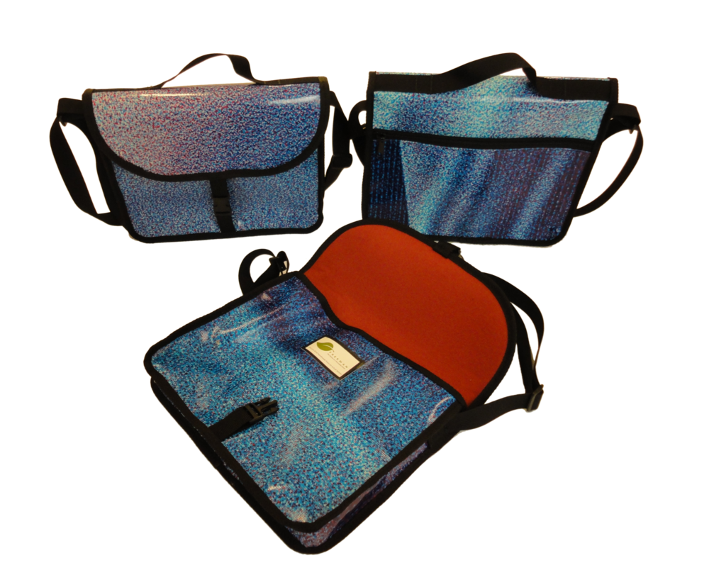 Messenger bags made from repurposed vinyl banners and billboards to house your laptop or tablet