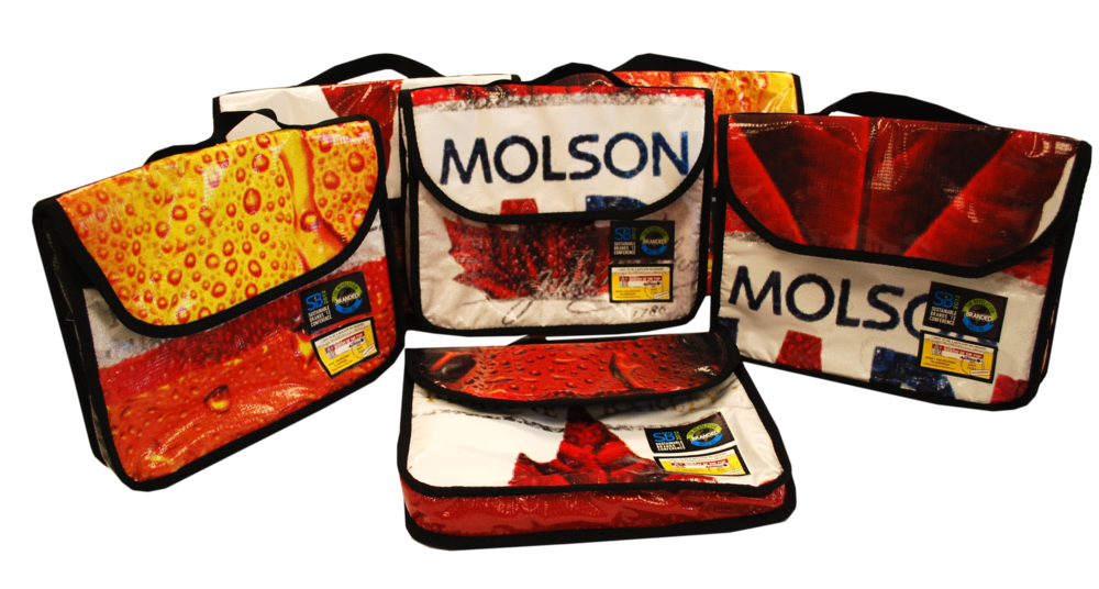 Molson Coors messenger bags made from old billboards