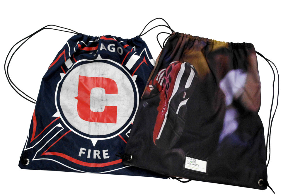 Sustainable drawstring bags made from repurposed Chicago Fire materials like mesh