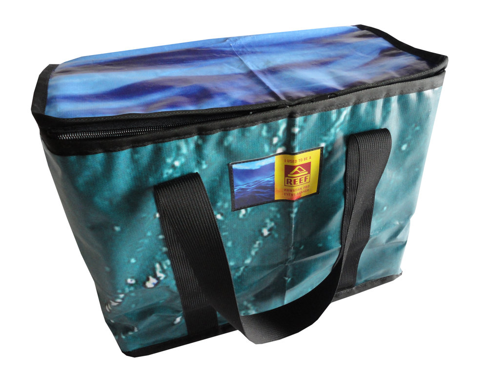 Eco-friendly zippered picnic basket made from repurposed REEF banners