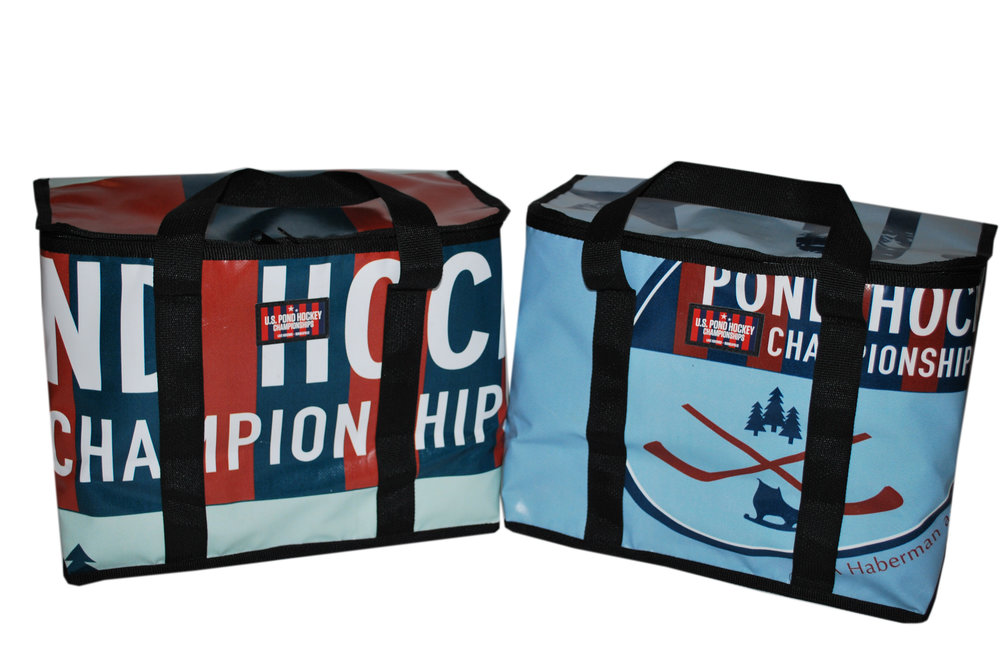 Large, insulated cooler made from recycled REEF banners and billboards