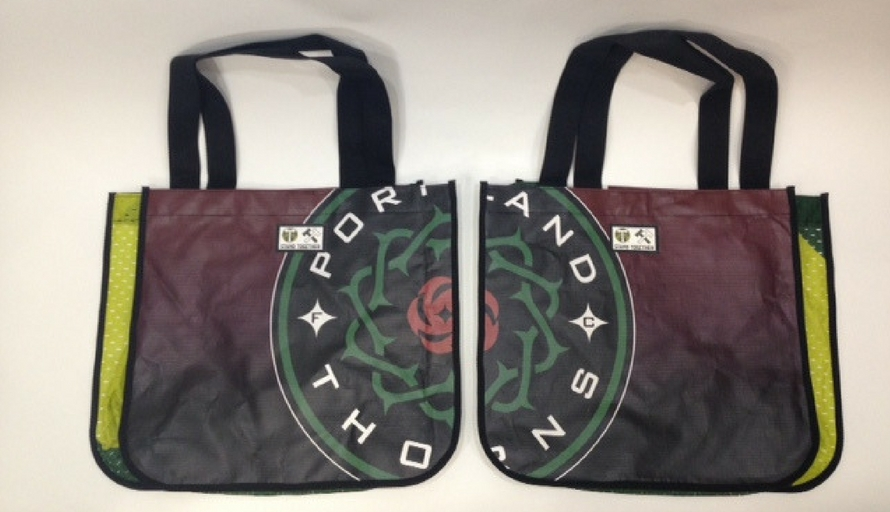 portland timbers upcycled earth day bags