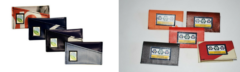 Double sided Business Card Holders (left) &   Bankers Life Fieldhouse Flip Business Card Holders (right)