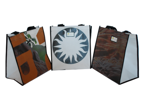 Smithsonian upcycled banner totes