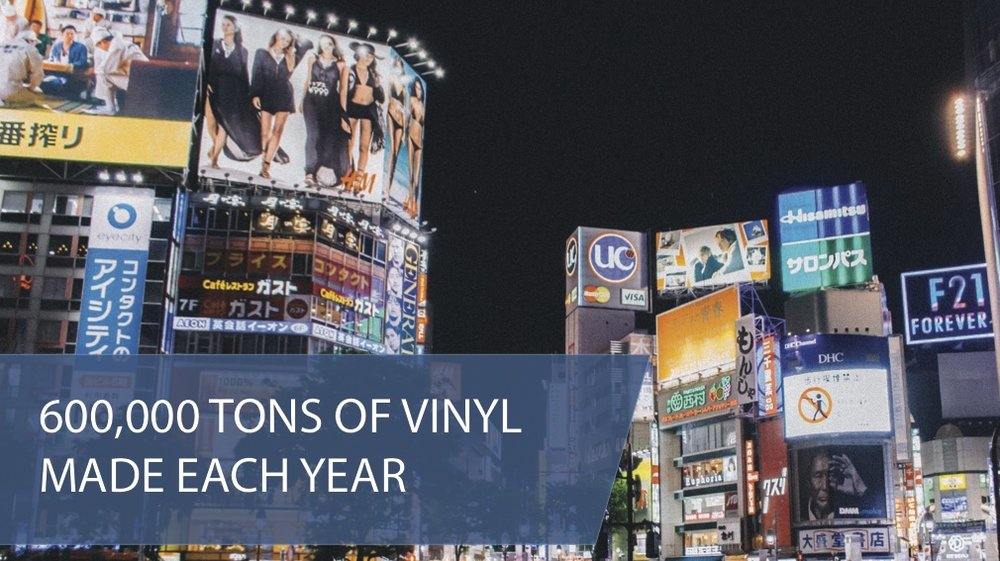 600000 tons of vinyl banners and billboards made each year goes to landfills