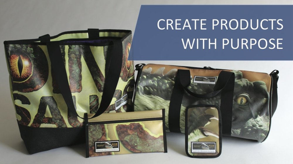 products with purpose, gifts that keep giving, upcycled vinyl, billboard bags, banner bags