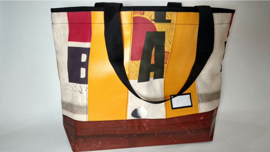 Tote bag made from upcycled banner