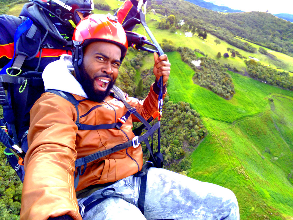 Soaring high above the city of Sopo and paragliding with Carlos.