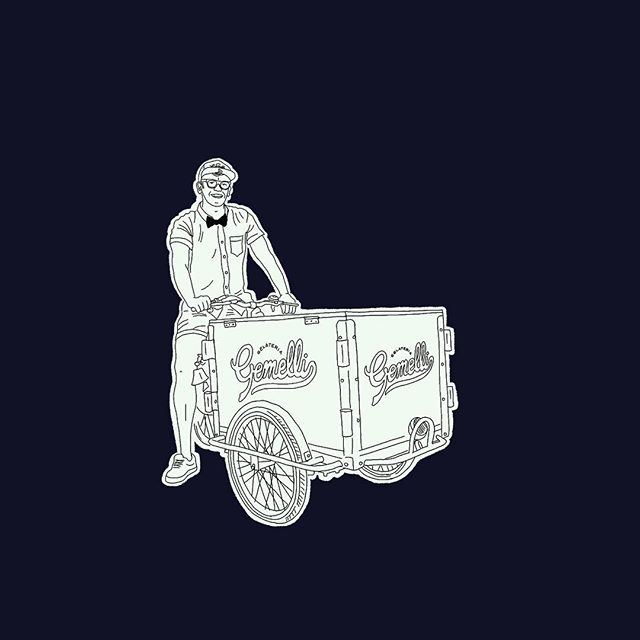 Riding into Monday like...🚴🏻♂️🍦 We can pedal this bad boy to your first or second wedding, your graduation party, your cousin's Bar Mitzvah. We got your gelato catering needs covered, boo. Illustration and hand painted trike by the complex and multi-talented @goodsnake