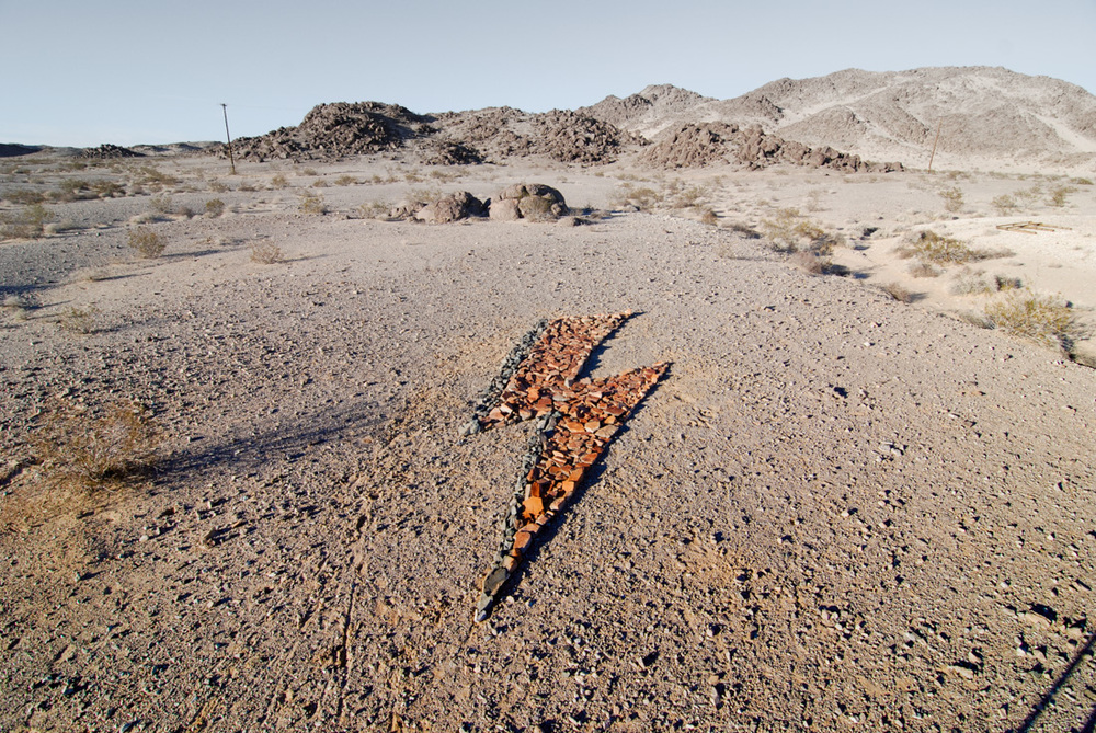 Our tribute in the middle of the Mojave mars-scape.