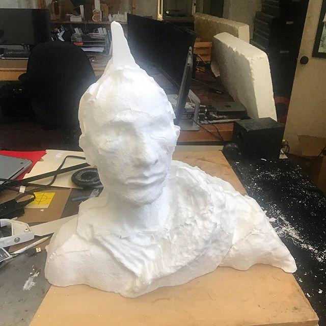 Foam sculpture heading towards the lost wax bronze after life