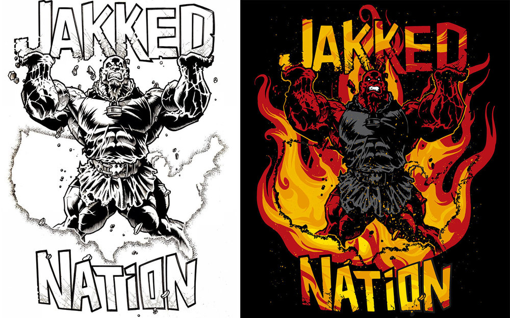 Before & After for Jakked Gym T-Shirt Design by Adam Zalaznik. Drawing by unknown artist.