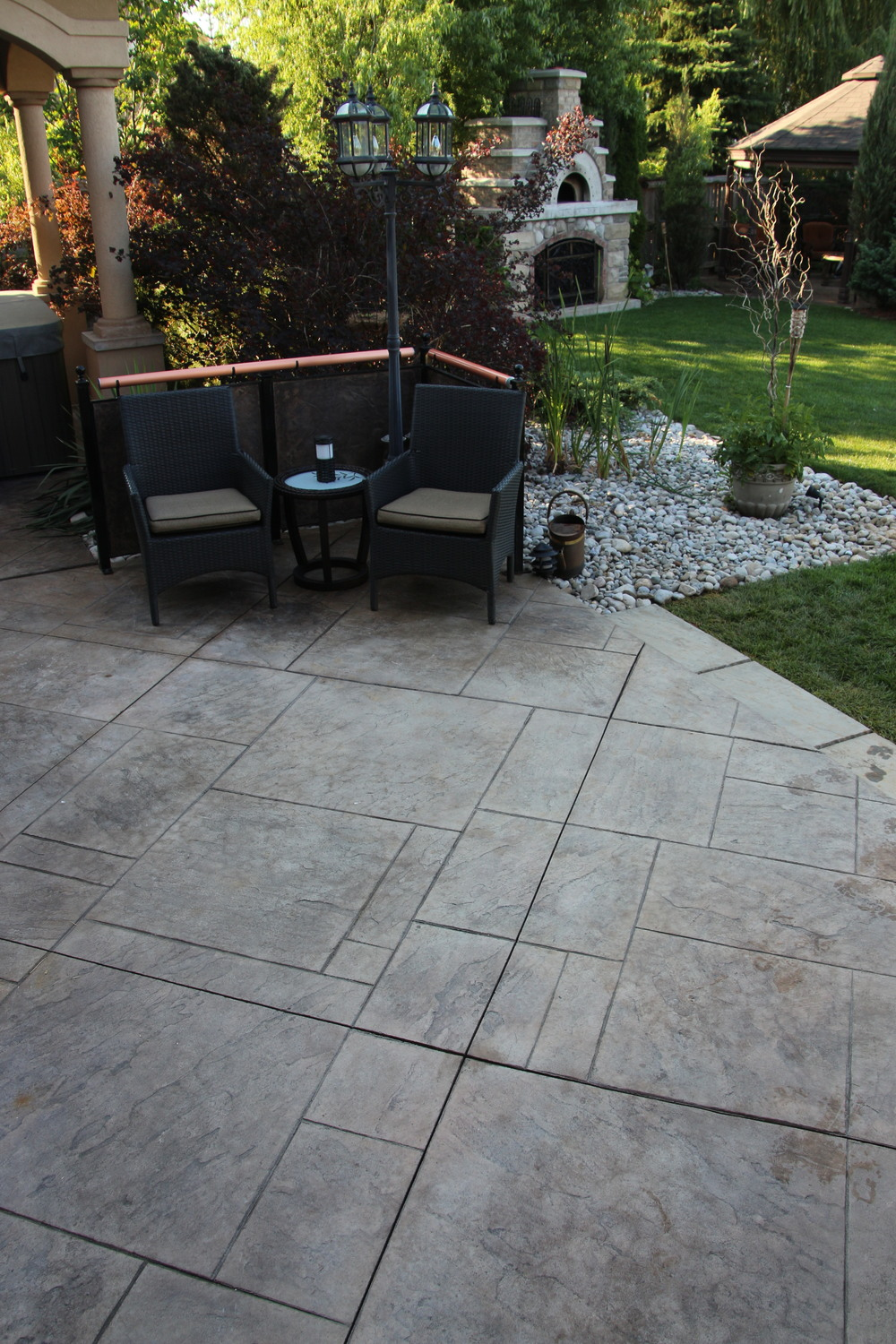 Stamped Concrete Patio, wide view