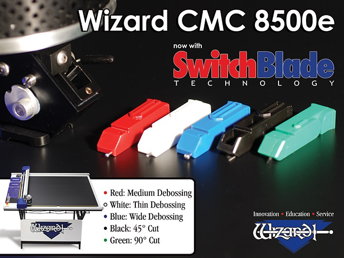 2008 The Wizard™ CMC Model 8500e with SwitchBlade Technology (SBT) is introduced. Integrated Framer® Retail Management software is released as well as CutArt Volume 1 library.