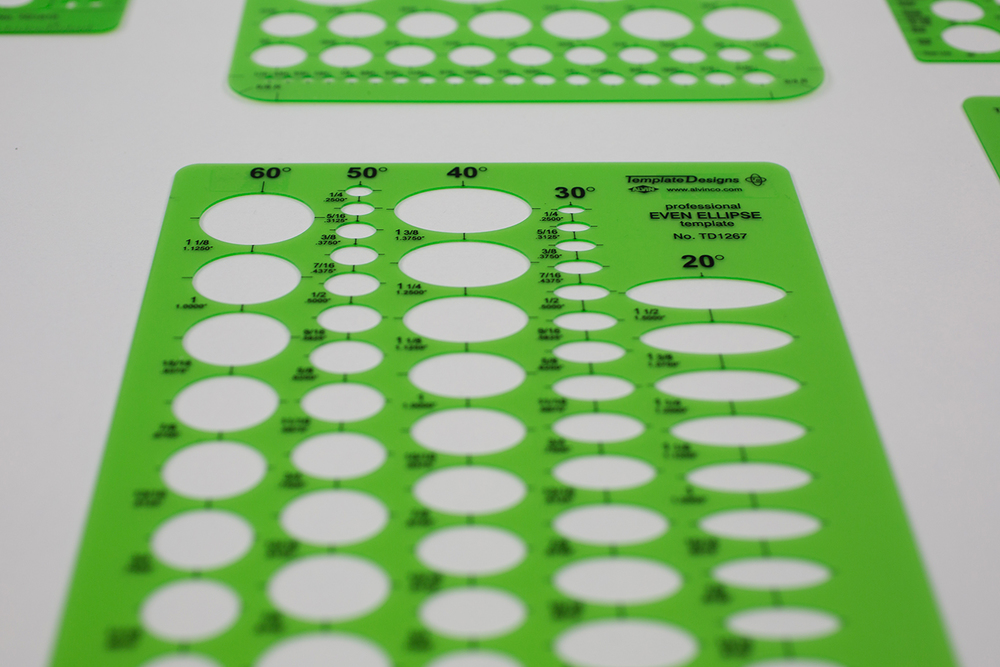 Alvin® Even Ellipse Master Template Item No. TD1267