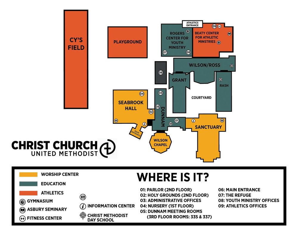 Umc Campus Map.Campus Map Christ United Methodist Church