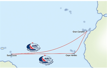 There are 2 routes to choose from: the regular ARC from Gran Canaria direct to St. Lucia, or the ARC+ that takes a more southerly route with a stopover in Cape Verdes.