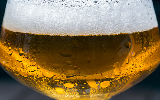 Beer bubbles in a properly dispensed glass of beer.