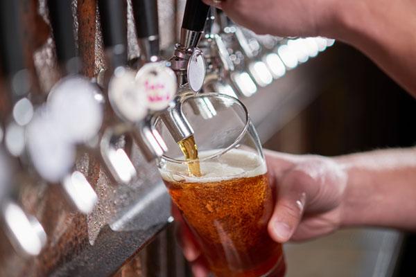 beer dispensing from tap