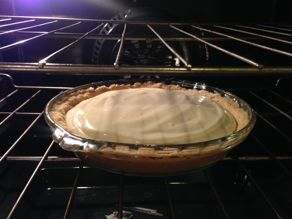 All right, now pop that gorgeous pie into the oven at 350 for another 10 minutes or so. Then let it cool for about an hour. After that into the fridge and it really will be best served the next day.