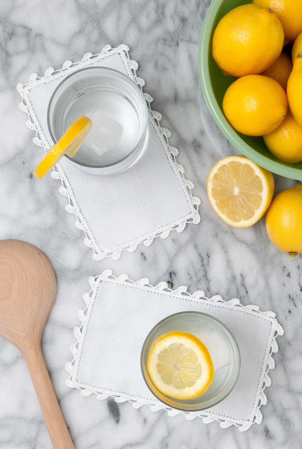 linen product photography lemons