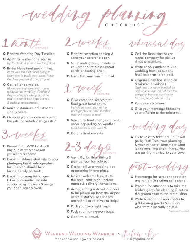 Weekend Wedding Warrior Checklist P2