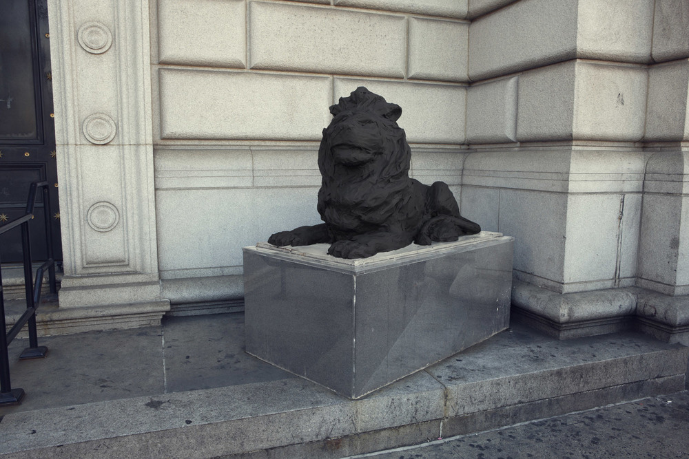 Silhouette / Urban Intervention (Black Tape) - Lion Statue