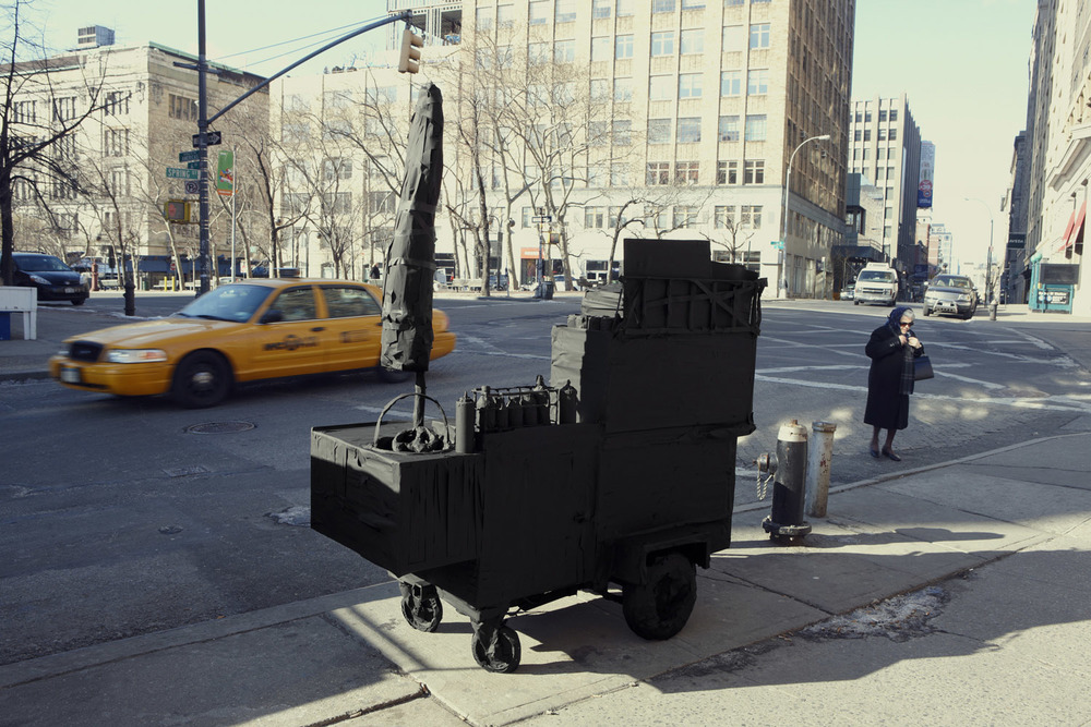 Silhouette / Urban Intervention (Black Tape) - Street Vendor