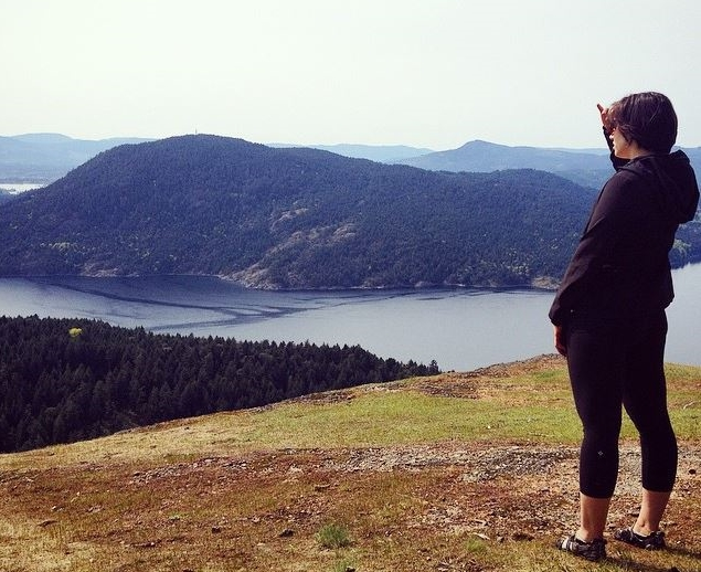 Taking in the view at the first lookout point of our Mount Erskine summit. Photo c/o Sara McKenna.