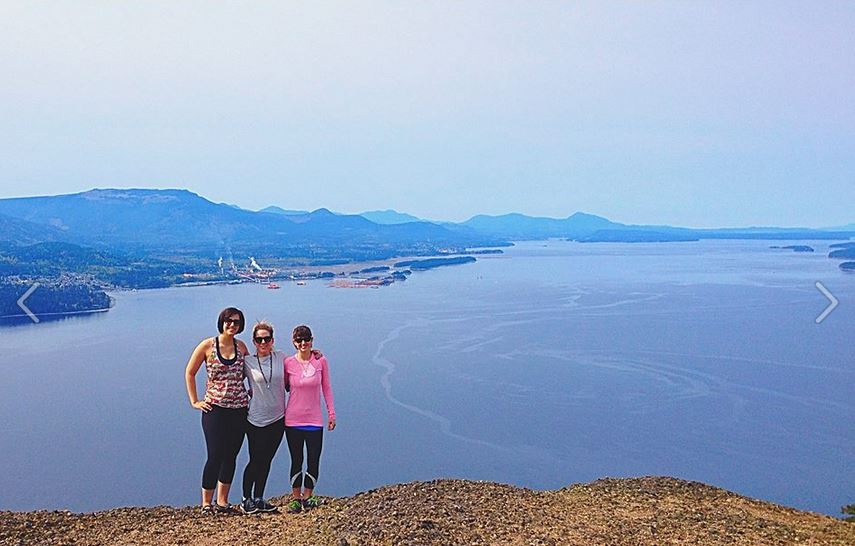 Me, Sara, and Sara's Salt Spring Island friend Island Emilyat Mount Erskine's peak. Photo c/o friendly fellow hiker.