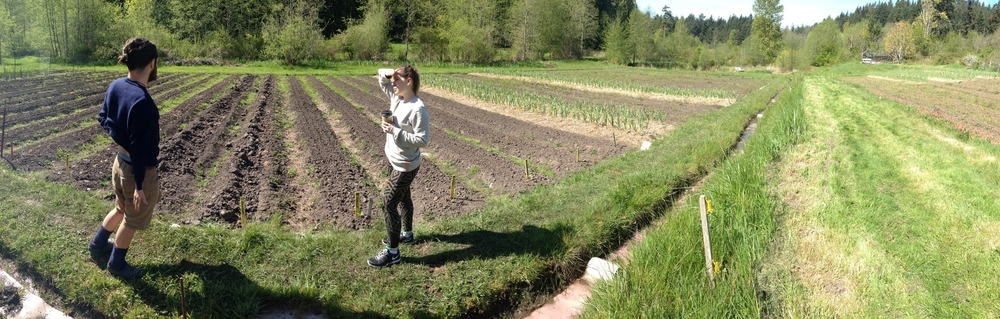 Eland explaining to Sara the practice of rotating crops every few years.