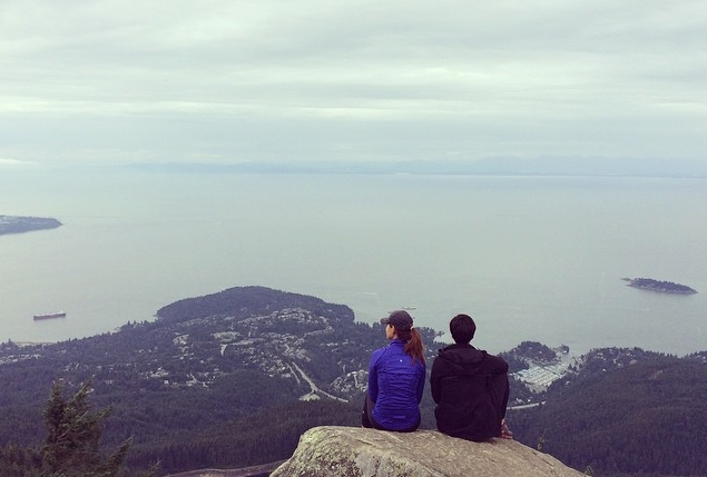 North Vancouver, BC--Taking in the view at the top of Eagle Bluff. Photo c/o Christa Ellis.
