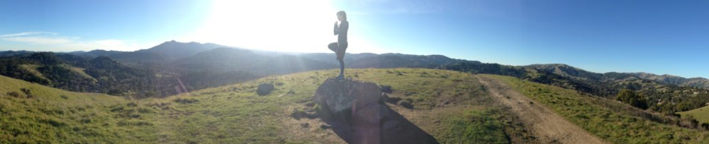 San Rafael, CA--Tree pose on a hikein the Northern California hills. Photo c/o James Lantz.