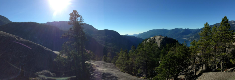 Squamish, BC--Midway up The Chief summit.