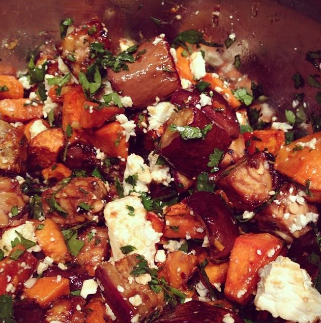 An roasted eggplant, sweet potato and tempeh dish tossed with cilantro and feta cheese, finished with a pomegranate molasses glaze.