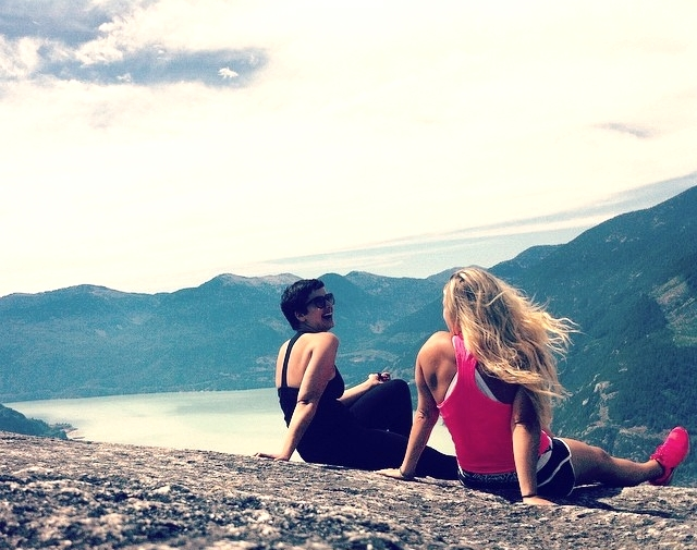 Pausing to appreciate the beauty at the peak of The Chief with a friend in Squamish, BC.