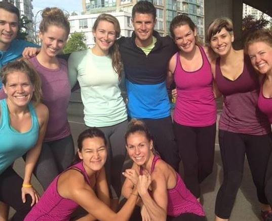Outdoor boot camp under the Cambie Bridge in Vancouver, BC